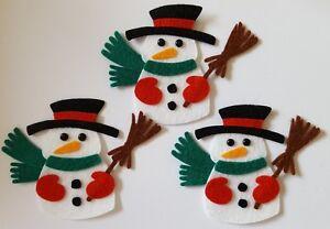 x3 Felt Snowman Embellishments.Christmas embellishments.Die cuts.