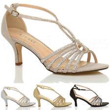 Donna slim tacco medio con cinturino fibbia formale t-bar sandali scarpe numero