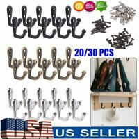 20-30PCS Hanging Metal Single Hook Clothes Hat Coat Robe Wall Door Hangers Hooks
