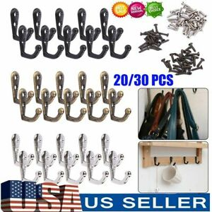 20-30PCS Hanging Metal Single Hook Clothes Hat Coat Robe Wall Door Hangers Hooks