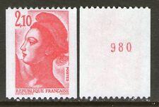 1984 Marianne 2322a LIBERTE de Gandon variété NUMERO ROUGE ★★ nf sans charnière
