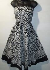 Dress Fit L XL 1X 2X Plus Sundress Black White Paisley Leopard Print NWT 1104 MM
