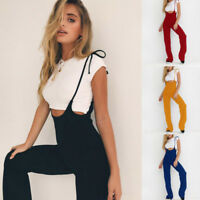 Women High Waist Wide Leg Long Flared Bell Bottom Pants Rompers Fashion Jumpsuit