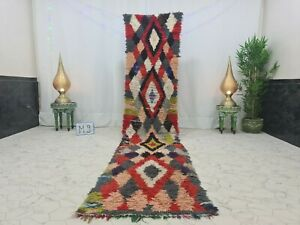 "Moroccan Handmade Vintage Runner Rug 2'4""x11'9""Geometric Berber Red Black Carpet"