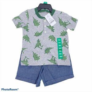 Carters Boys Dinosaur t'shirt & shorts set size 18M 5T Cambray shorts T Rex tee