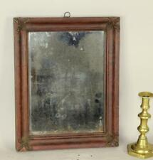 Rare Early 19Th C American Courting Mirror Original Red Paint Rare Plaster Edges