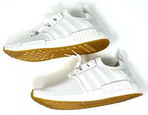 Men's Adidas NMD_R1 All White Size 9, 10 Athletic Casual Sneakers D96635 GUM New