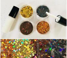 FESTIVAL FACE/BODY KIT GLUE + HOLOGRAPH DIAMOND GLITTER BLACK/BROWN/GOLD/ORANGE