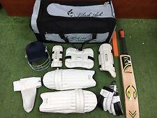Back Ash 10pc Junior Cricket Combo gear set english willow bat helmet size 4 5 6