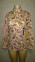 Classic Elements Women's Floral Long Sleeve Mock Shirt Blouse Top Plus sz 16-18W