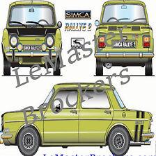 Simca Rallye 2 - Affiche poster art déco de voiture de colllection