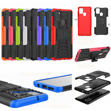 For Samsung Galaxy A21s, 3D 2in1 Dual-Layer Shockproof Rugged Armor Case + Glass