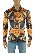 VERSACE Tiger print Men's Dress Shirt Long Sleeve Black and Gold 172 Size M