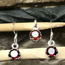 Natural 2ct Pyrope Garnet 925 Sterling Silver Dangle Earrings and Pendant Set