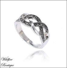 Vintage Silver Marcasite Style Elegant Braided Twist Ring w/ Gunmetal Diamante