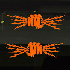 """Fist Lightning Bolts Electrician Power Set of 2 ORANGE Decal Stickers 13""""x3.5"""""""