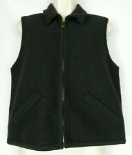 VALERIE STEVENS Women's Black Pure Wool Sweater Vest Collar Full Zip ITALY  SM
