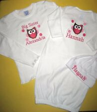 Personalized BIG/LITTLE Sister BIG/LITTLE Brother OWL T Shirt & SLEEPER HAT Set