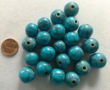 """16"""" Strand Round Resin Bead 14mm TURQUOISE WITH MATRIX - FAIR TRADE"""