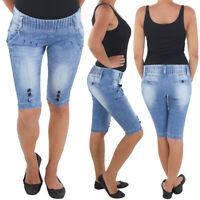 # Damen Capri 3/4 Jeans Shorts Bemuda Kurze Hüft Stretch Hose Sommer Blau #