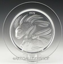 Lalique France Crystal 1975 ANNUAL COLLECTOR PLATE FISH DUET