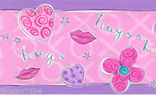 HUGS KISSES Pink Purple Flower Heart Star Hug Kiss Lips Girl Wall paper Border