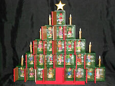 Christmas Advent tree wood 24 Peanut Bears Collectible Hand Painted Ornaments