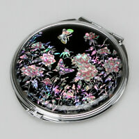 MOP Art Deco Black Pink Flower Purse Compact Cosmetic Makeup Round Vanity Mirror