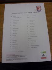 18/10/2013 Stoke City U21 v Reading U21 [At Nantwich Town] (single sheet). Thank