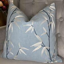 "Designer Cushion Cover 16""iLiv Interior Fabric Embroidered Blue Decor"