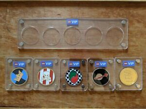 Lego VIP Coin Set - COMPLETE - All 5 Coins with 5-Coin Display Case - New Rare