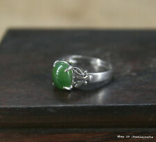 China antique Platinum Ring jewelry Natural HeTian Jade Silver Carving