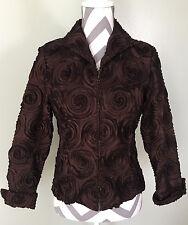 SAMUEL DONG Womens Brown Bronze Textured Full Zip Up Jacket Coat Sz S EUC