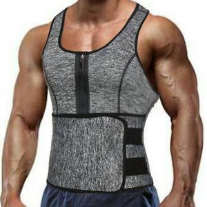 Men's Sauna Suit Sweat Vest Tank Top Neoprene T-Shirt Waist Trainer Body Shaper.