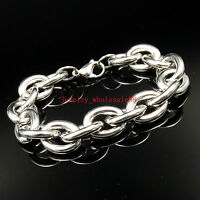 Large Huge stainless steel 15mm 9'' Smooth Oval Link Chain Bracelet For Mens