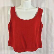 ST. JOHN Sz Small S Bright Red Santana Knit Tank Cami Cropped Length