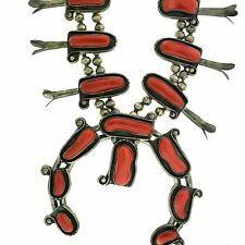 Branch Coral Squash Blossom Necklace Native American Sterling Silver Orange Red