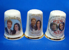 Birchcroft China Thimbles -- Set of Three -- Royal Wedding Prince Harry & Meghan