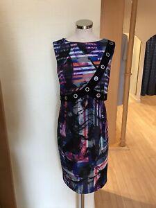 Joseph Ribkoff Dress Size 16 BNWT Black Pink Blue Orange RRP £277 Now £125