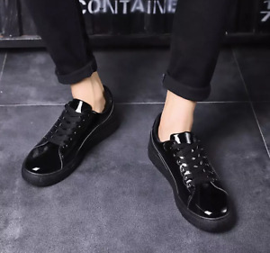 Men's Athletic Patent Leather Round Toe Lace Up Flats Sneakers Casual Shoes New