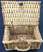 Nice Old Woven Wicker Box Basket Hinged Lid Rectangular All Natural Materials