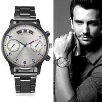 Men's Fashion Luxury Crystal Watches Stainless Steel Analog Quartz Wrist Watch