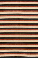 Striped Design Modern Nepalese Tibetan Oriental Hand-Knotted 7x10 Wool Area Rug