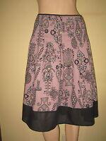 Topshop ~ Dusky Purple & Black Fab Boho Print Cotton Summer Skirt ~ Size 12