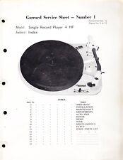 GARRARD SERVICE MANUAL for a MODEL 4 HF SINGLE RECORD PLAYER