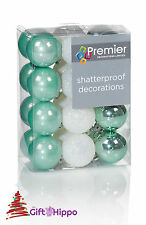 Christmas Tree Decoration - 30mm Green & White Baubles - 24 Shatterproof Baubles
