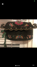 Antique Chinese 19c embroidery Taoist Baby hat