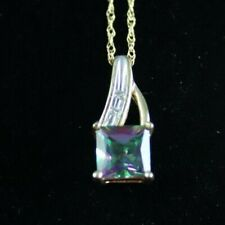 10K Yellow Gold Mystic Topaz and Diamond Pendant with 17 inch Chain 1.6g