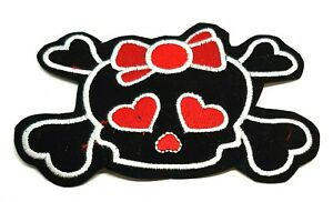 Red Ribbon Black Bone Skull Iron Sew On Patches