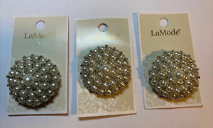 Lot Of 3 Cards La Mode Pearl And Silver Button 38mm Buttons 04502 - 1 Count